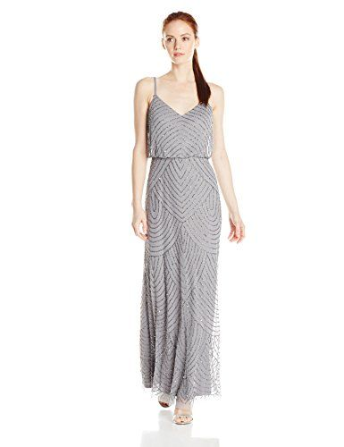 913e174be5d0b Adrianna Papell Women's Petite Long Blouson Dress, Silver/Grey, 2 Petite --  You can get more details by clicking on the image.