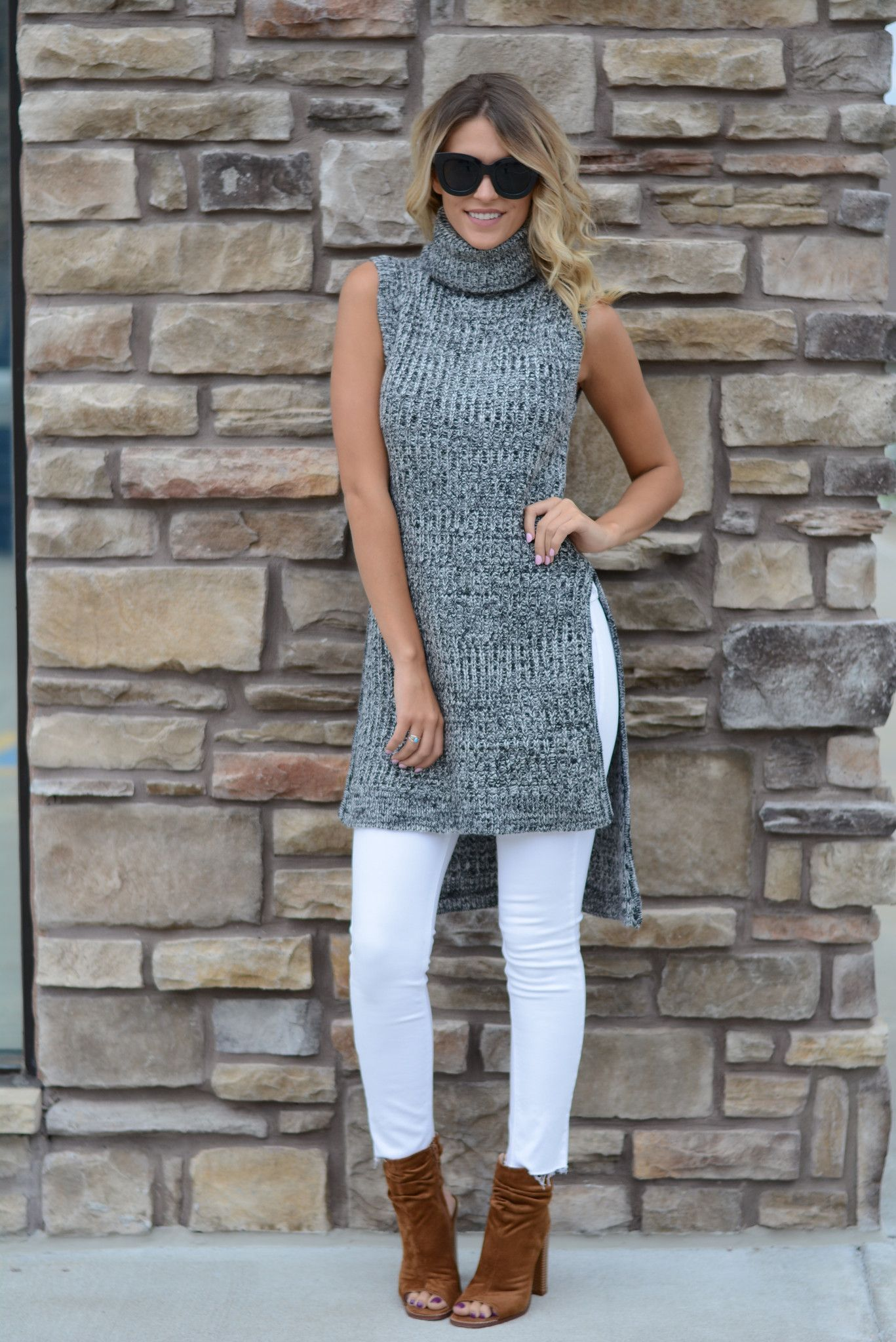 Trendy Cowl Neck Sleeveless Sweater | Foi Clothing | Sleeveless ...