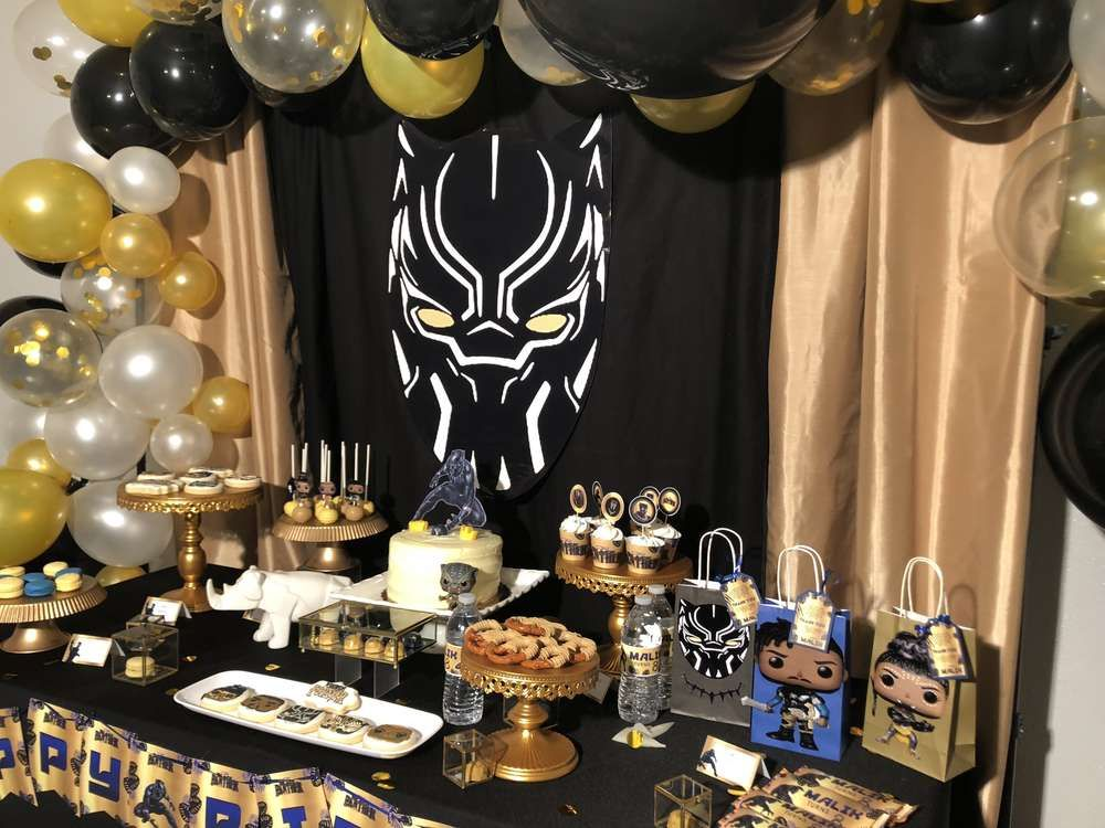 Black Panther Party Supplies 2nd Birthday Balloon Bouquet Decorations