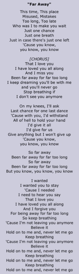 Far Away - Nickelback - A song dedication from my husband. | Those ...