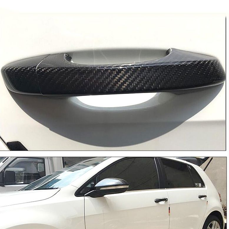 High Quality Auto Exterior Carbon Fiber Made Door Handle Cover Sticker Decorations Overlay Trim For Volkswagen Golf 6 Sticker Decor Auto Carbon Fiber