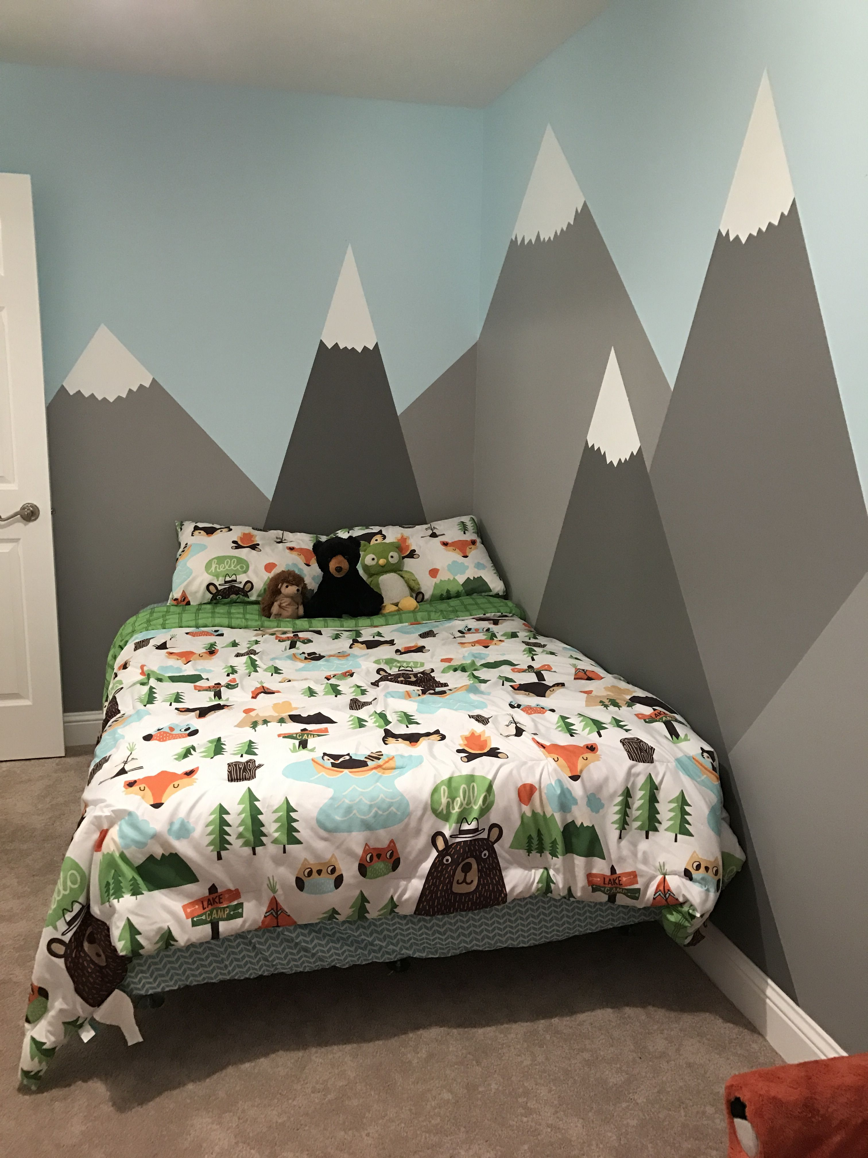 My Son Kylers Room Via Ktgardner Mountains Painted On The Walls For A Woodland Themed Bedroom Toddler Boy Comforter Is Pillow Fort By Target
