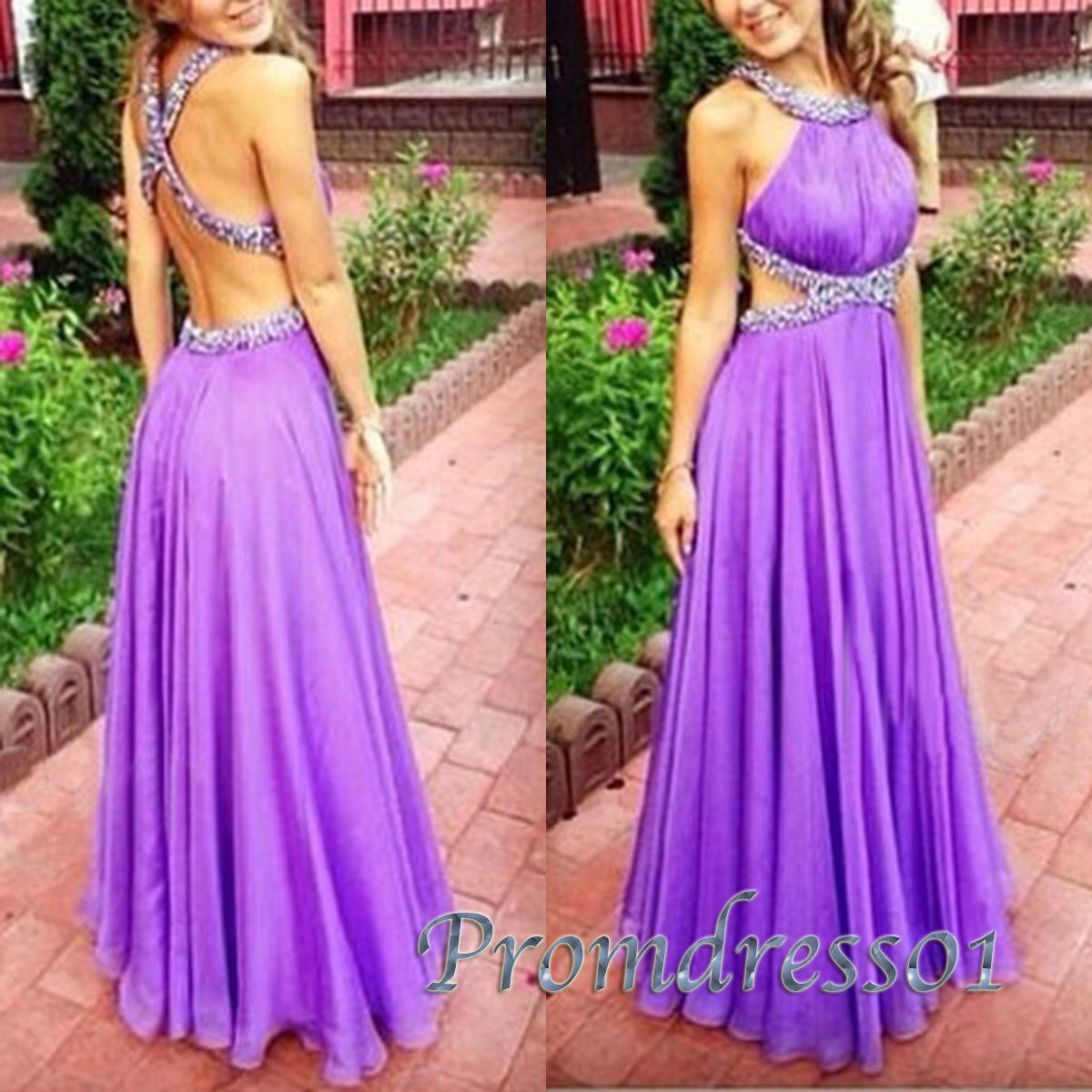 Purple halter hollow out long prom dress ball gown prom dress