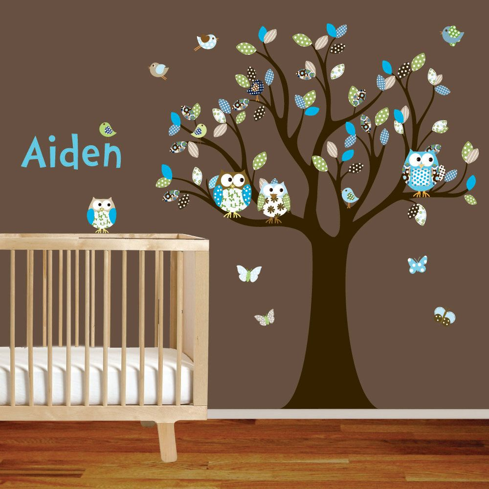 Boy owl nursery on pinterest for Baby nursery tree mural