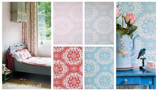 Behang Kinderkamer Roze : Bloemetjes behang in roze blauw rood en turquoise van room seven