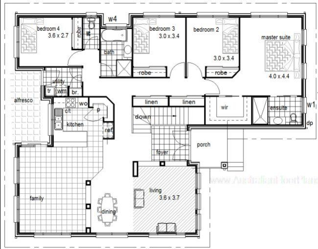 4 Bedrooms Sloping Land Home Plan House Plans Cabin House Plans Hillside House