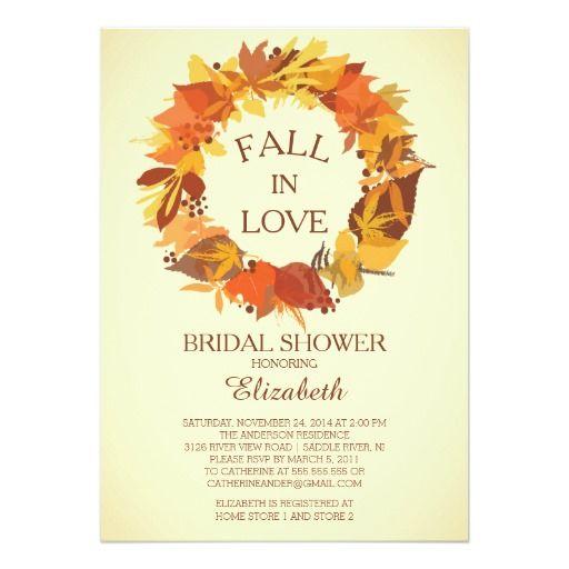 Modern fall autumn wreath bridal shower invitation for Modern bridal shower invitations