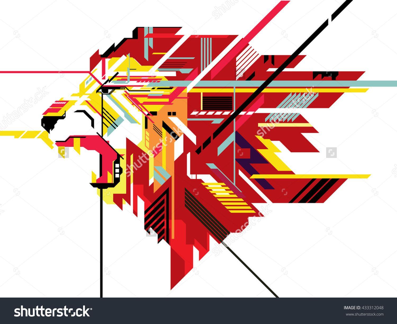 Lion in geometric line