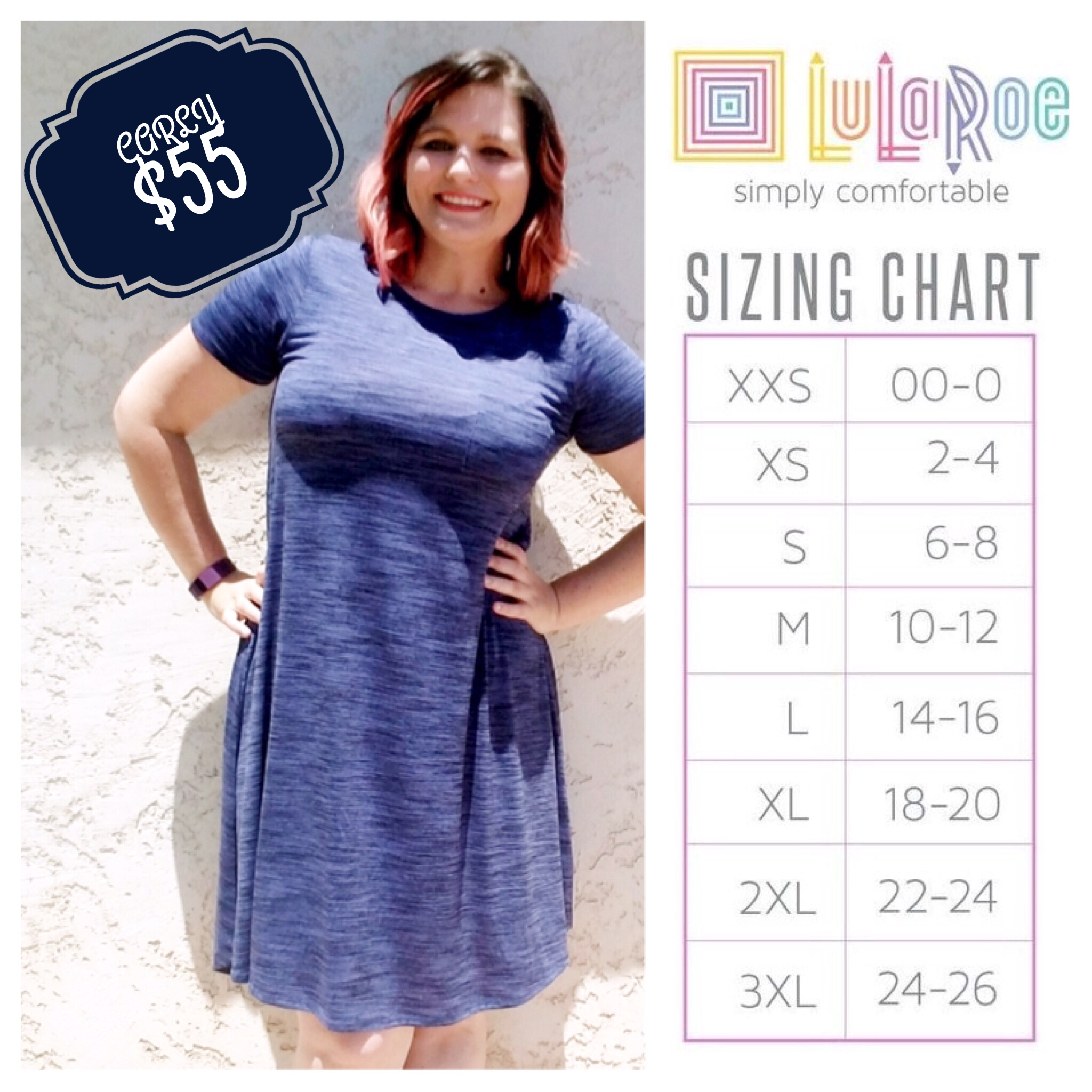 LuLaRoe Carly sizing chart