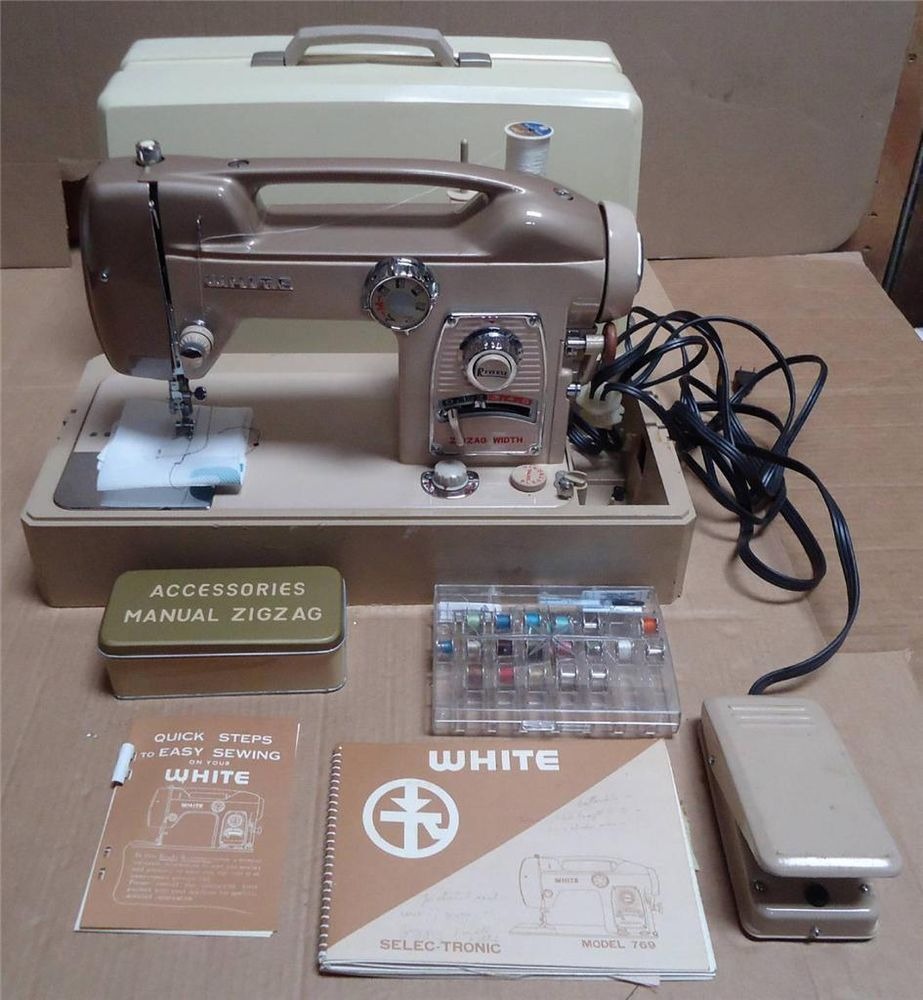 Vintage White Sewing Machine Zig-Zag 769 w/ hardcase & manual Made In  Japan. Built-in decorative stitches. Has cool cut out handle made into top  of machine.