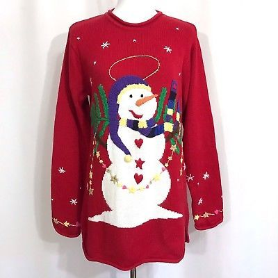 Halo Christmas Sweater.Quacker Factory Christmas Snowman Sweater Pull Over Tunic
