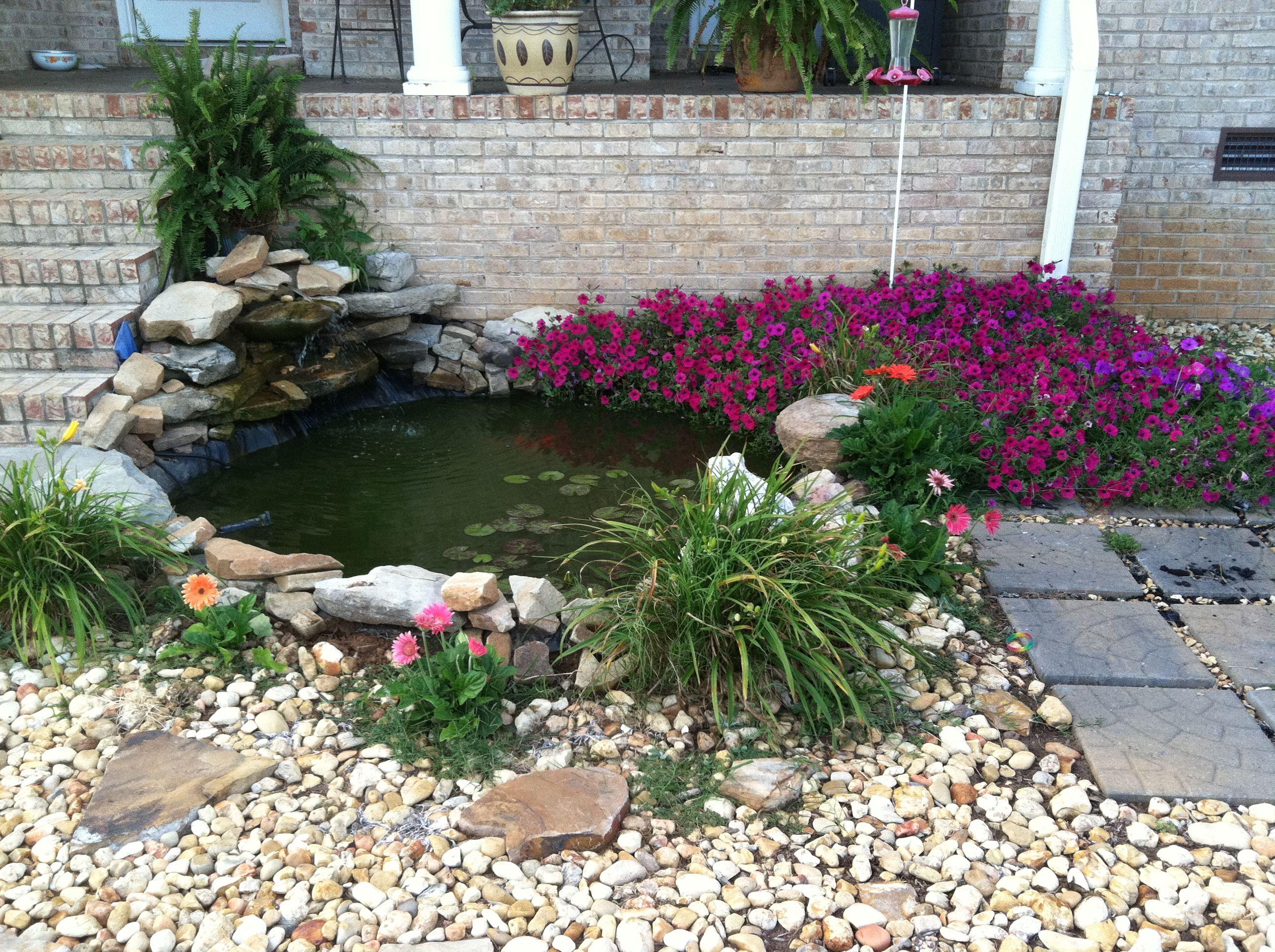 Backyard koi goldfish pond outdoors ponds backyard for Koi pond yard
