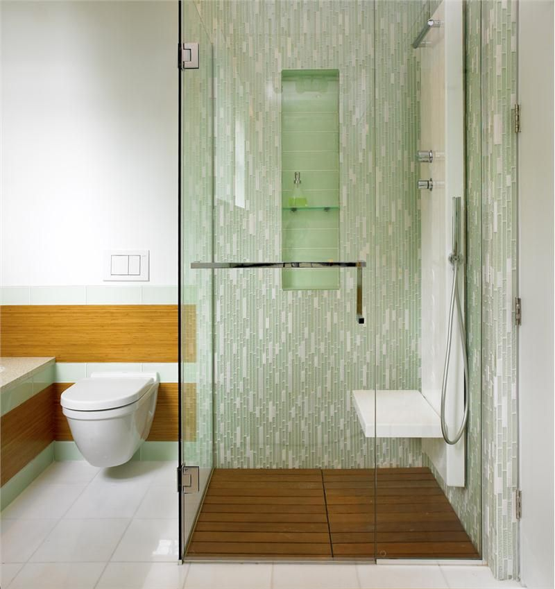 Light Contemporary Bathroom just love the green glass tiles and ...