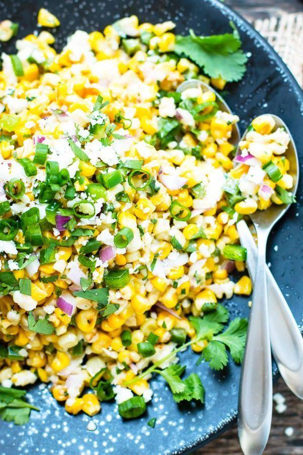 Skillet Mexican Street Corn Salad #tacosidedishes