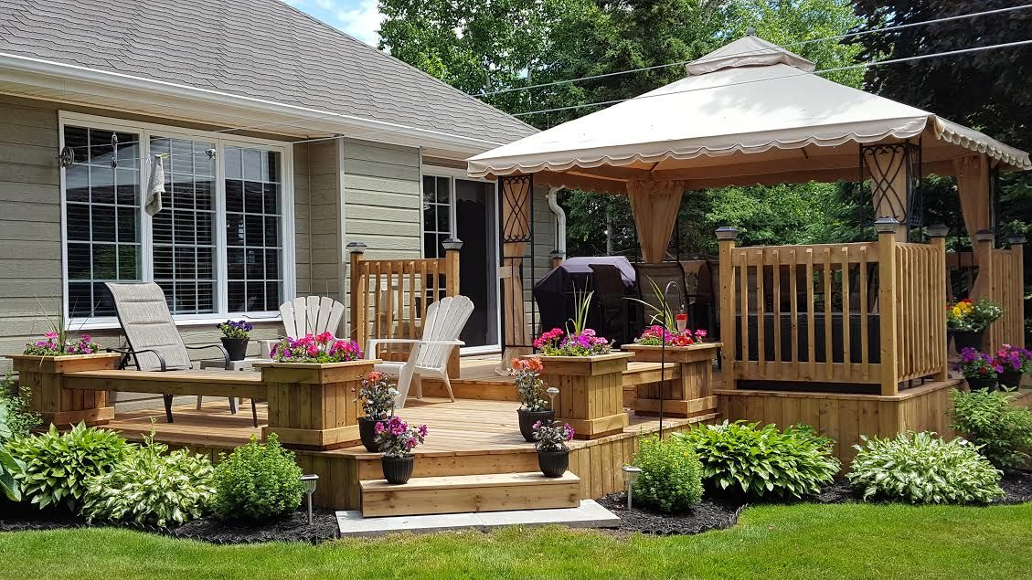 Two level deck. | Patio, Two level deck, Backyard on 2 Level Backyard Ideas id=25181