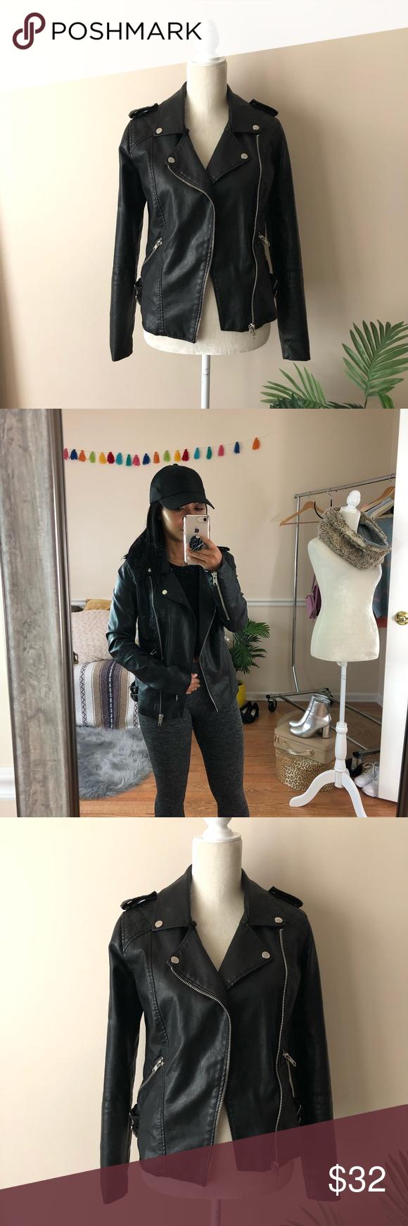Forever 21 Black Moto Faux Leather Jacket Black faux