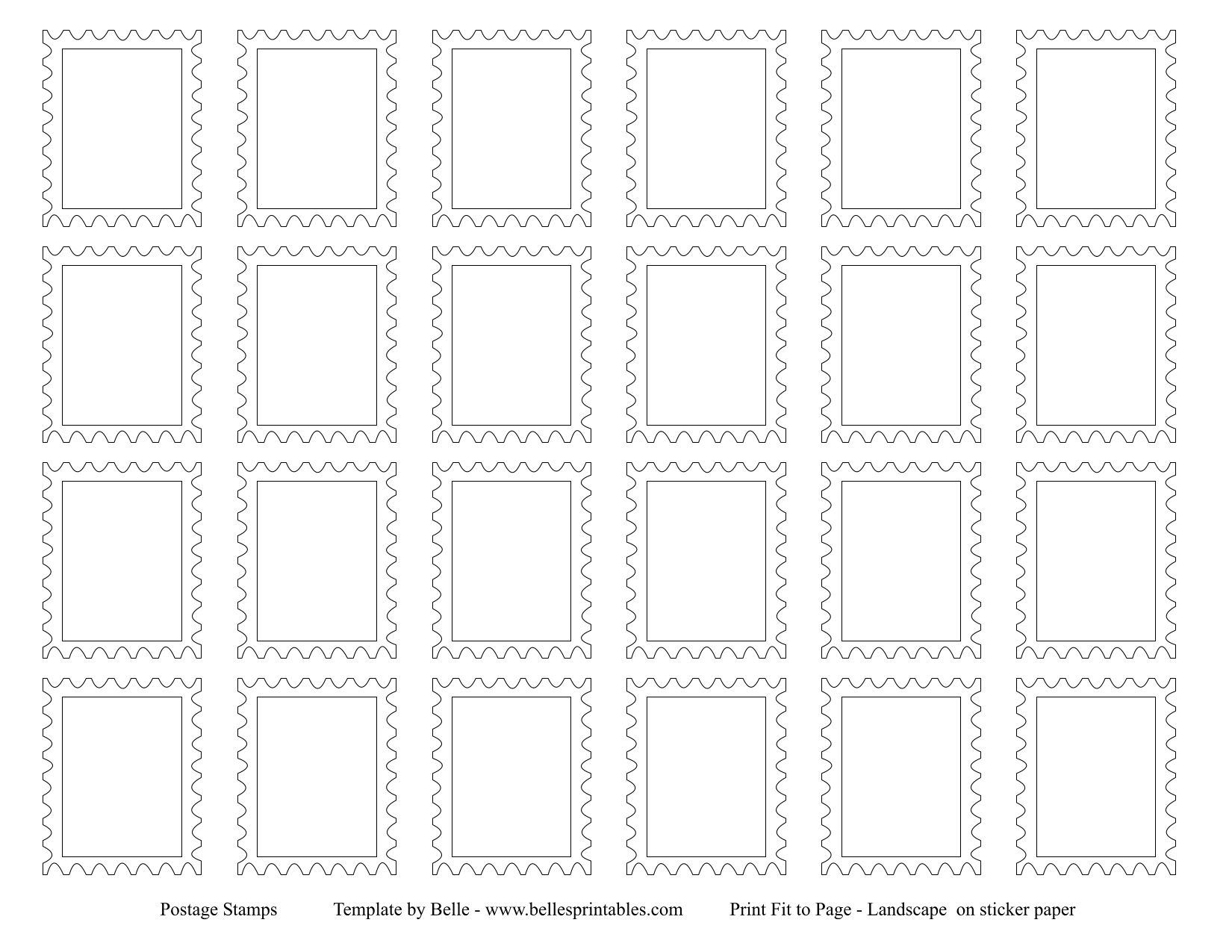 Postage Stamps Template For Dramatic Play/Post Office