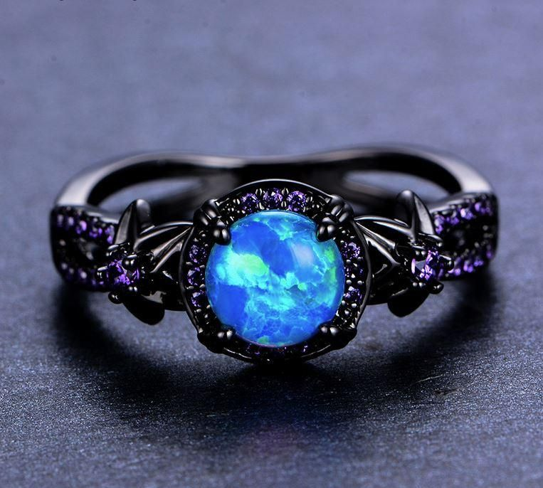 1417aa9997da57 Vintage Blue Fire Opal Ring in 2019 | jewerly | Opal wedding rings ...