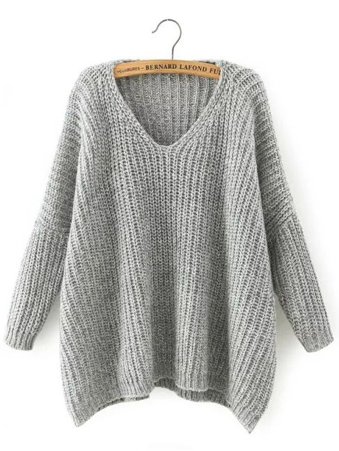 Shop Light Grey V Neck Batwing Sleeve Loose Sweater online. SheIn offers  Light… 8a720a9ef