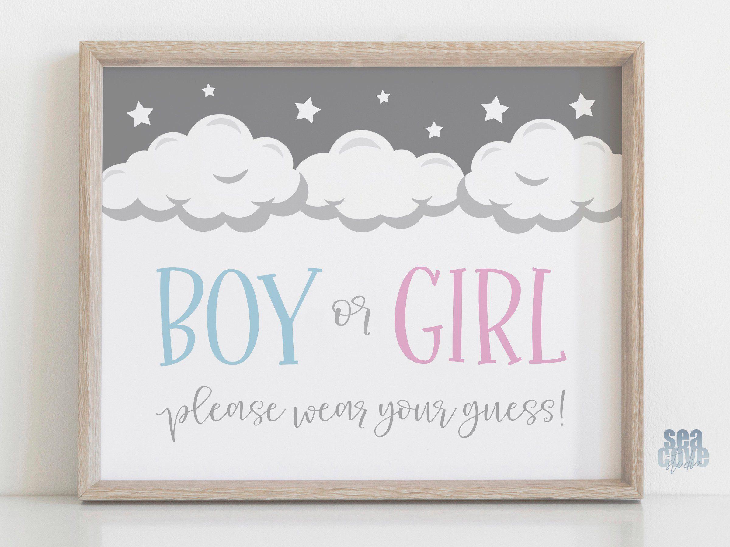 Boy Or Girl Please Wear Your Guess Sign Gender Reveal Etsy In 2021 Gender Reveal Decorations Gender Reveal Party Supplies Gender Reveal Party