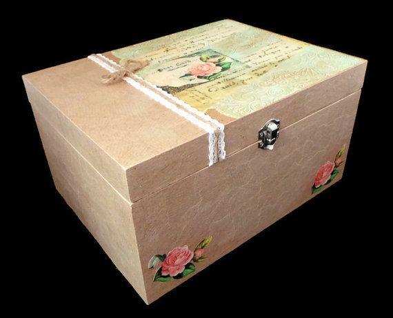 Large Wooden Box With Lid Shabby Chic Wedding Keepsake Decoupage Memory