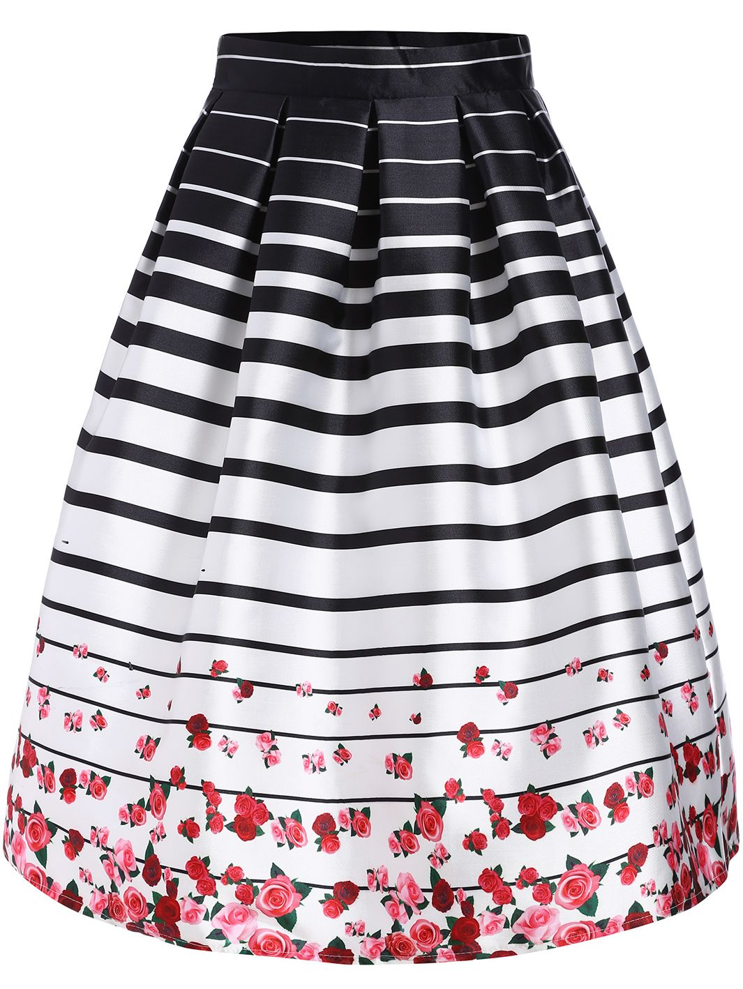 ce05cdb40 Black White Striped Rose Print Flare Skirt 23.67   Wardrobe ...