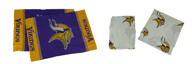 NFL Minnesota Vikings Logo 4 Piece Full Bed Sheet Set