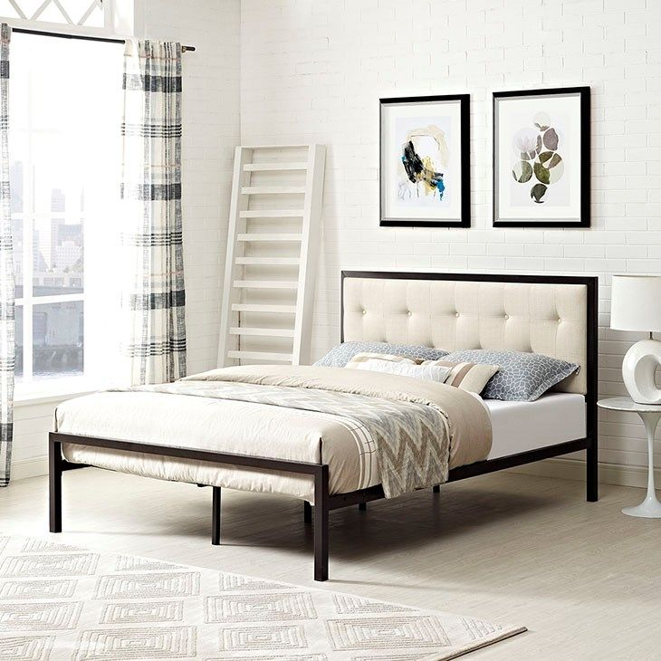 Lottie Queen Fabric Bed In Brown Beige With Images Bed Frame