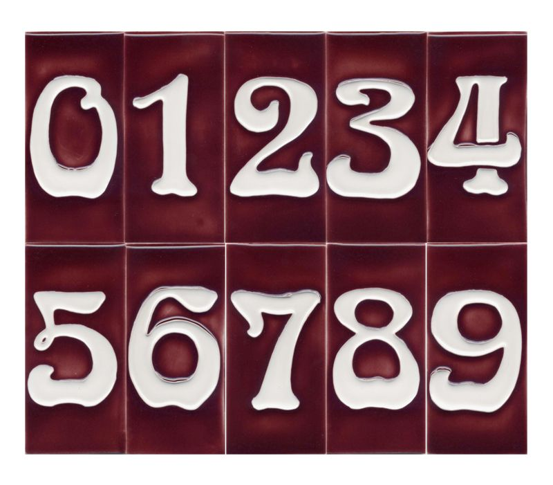 Art Nouveau House Number Tile Red 3 X 6 House Numbers Tile Art Tile House Numbers