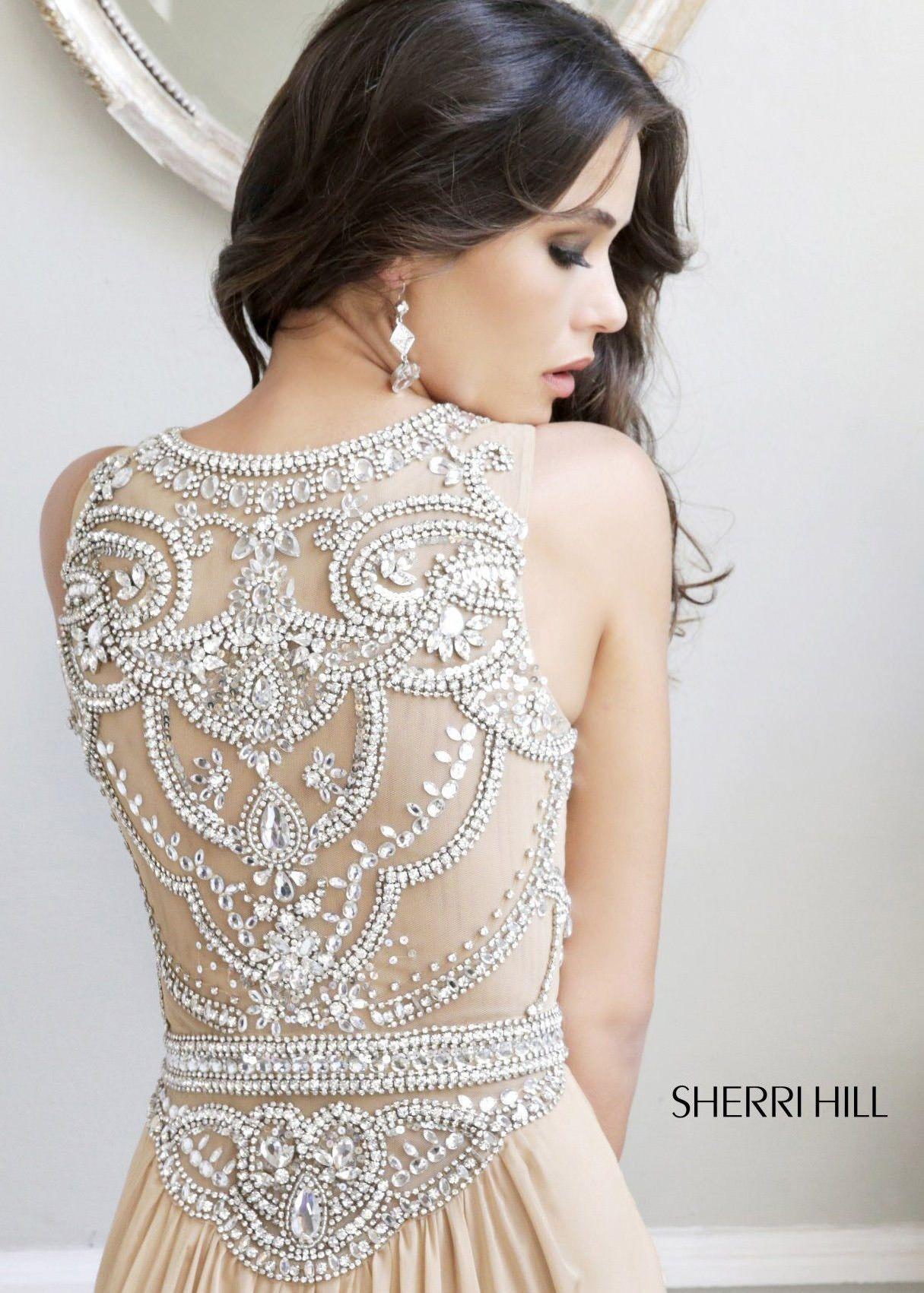 e815accb64fbd Sherri Hill 11069 - Nude/Silver Beaded Chiffon Dress - RissyRoos.com ...
