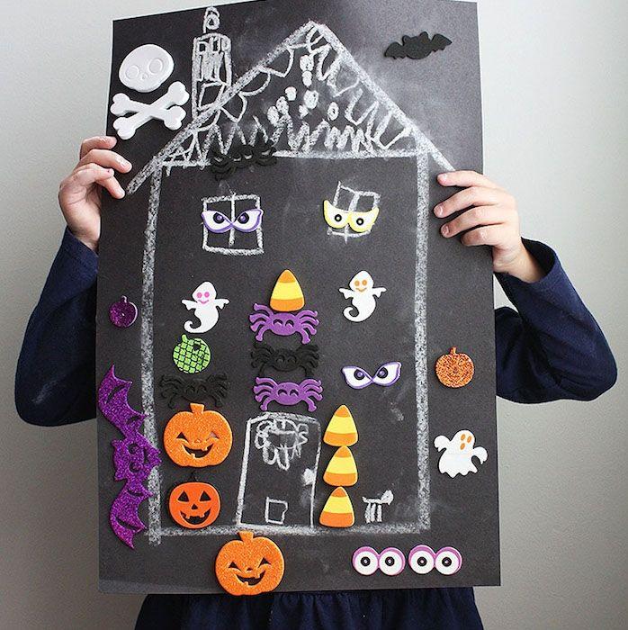 ▷ 1001 + bricolages et idées pour une activité manuelle halloween - dessin de maison facile