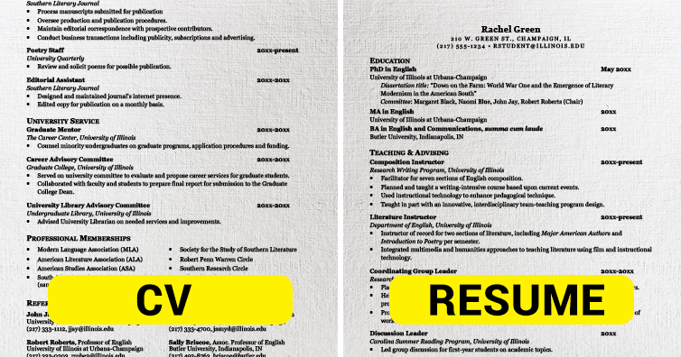 Cv And Resume Difference Pdf