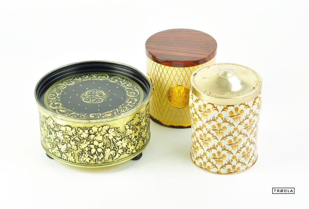 alte tchibo dosen blechdosen alte dose mit motiv set kaffeedose 50er jahre gold vintage tin. Black Bedroom Furniture Sets. Home Design Ideas