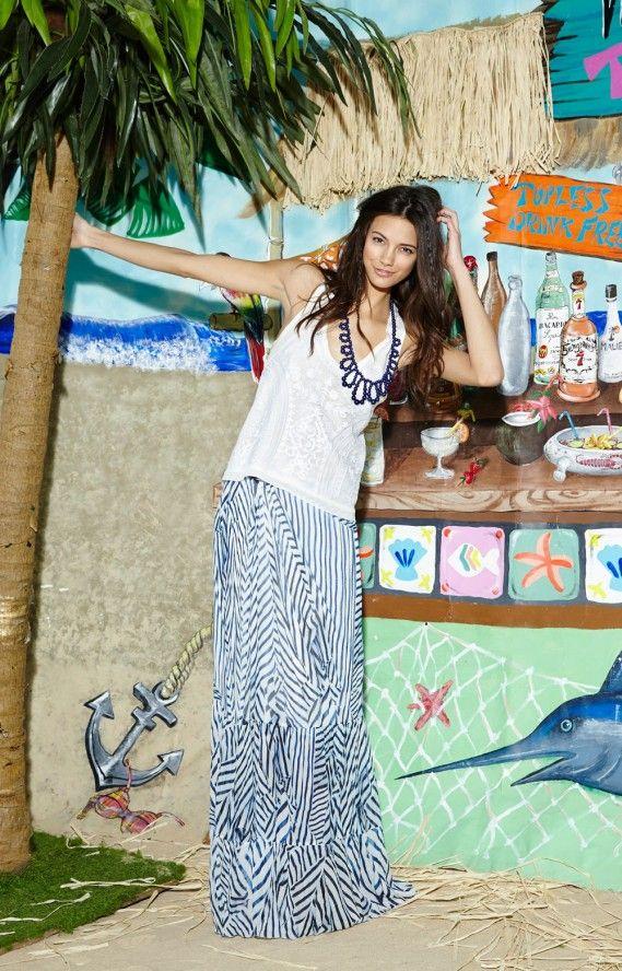 Sailcloth Stripe Maxi Skirt