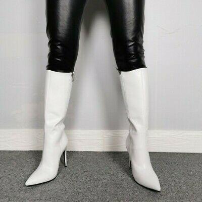 Women Pointy Toe High Stiletto Heel Thigh Boot Shoe Zip Leather Stylish Vogue
