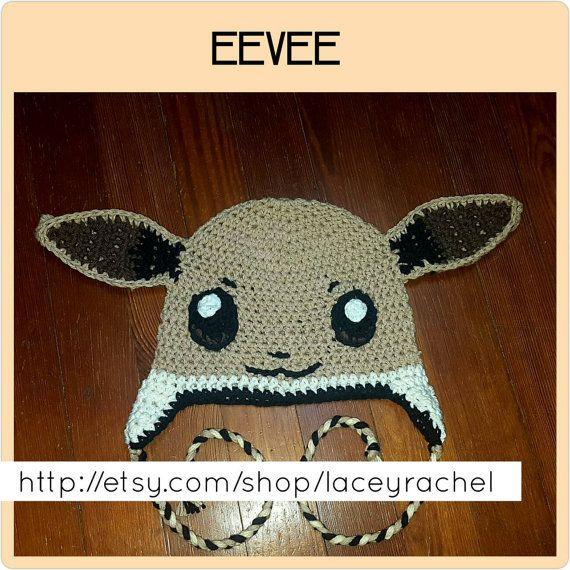 Eevee Pokémon beanie with earflaps and braided cord | Gorros