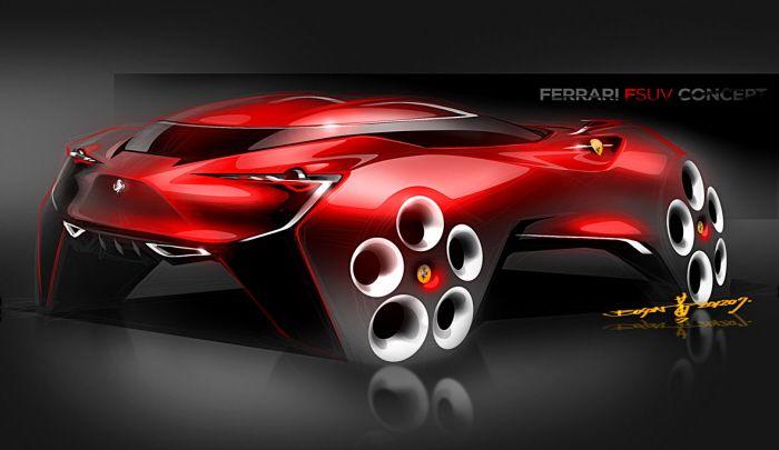 Future Ferrari Fsuv Concept Futuristic Cars Car Design Sketch