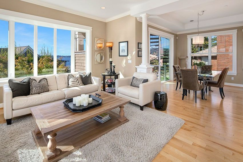 Bright Living Room With Water Views And Beech Wood Flooring Living Room Wood Floor Living Room Hardwood Floors Living Room Wood
