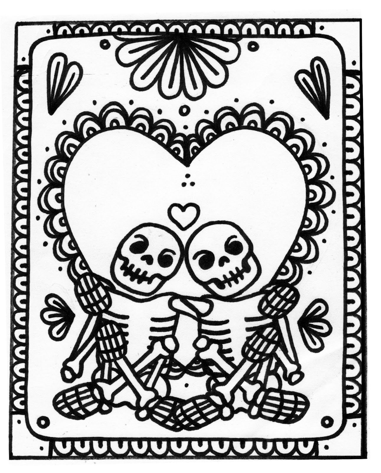 Day Of The Dead Skeletons Coloring Pages. Yucca Flats  N M Wenchkin s coloring pages Valentine 3 Skeleton Love Day