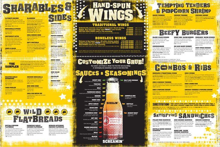 image about Buffalo Wild Wings Printable Menu identified as Pinterest