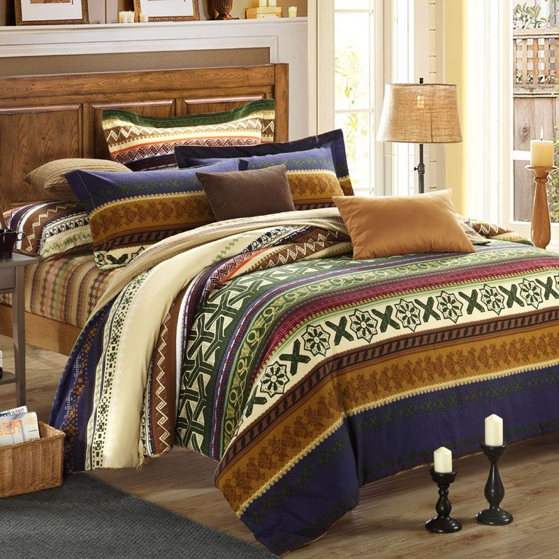 Olive Green, Mustard Yellow And Brown Wide Horizontal Stripe And Bohemian  Exotic Indian Tribal Print Luxury Adult Unique Full, Queen Size Bedding  Sets ...