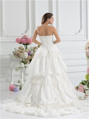 Romantic strapless sweetheart lace sweep train Wedding Dresses 2014 PGND0026