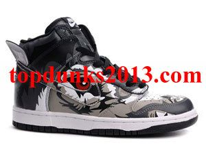 Genuine Big Bad Wolf Grey Black Colored Custom Nike Dunk High Top