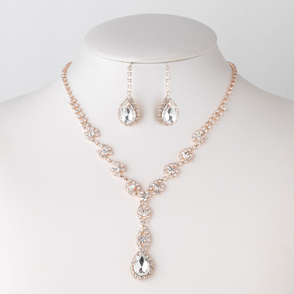 sets rose gold plated clear rhinestone drop bridesmaid jewelry