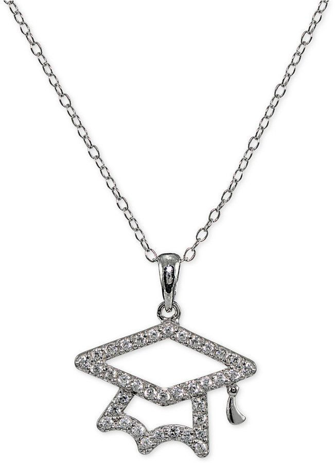 8ecaa6928 Giani Bernini Cubic Zirconia Pave Graduation Pendant Necklace in Sterling  Silver, Created for Macy's