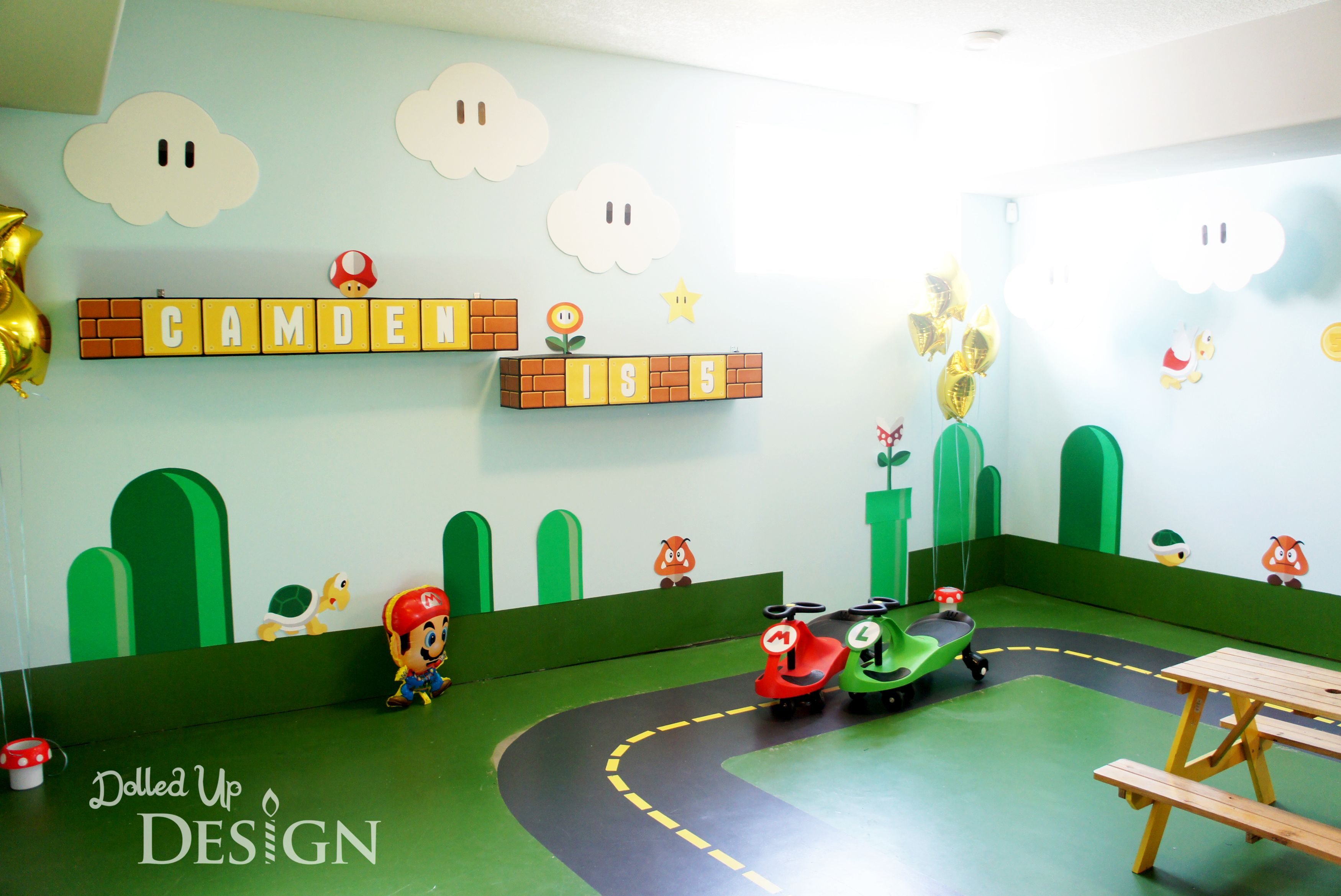 Wall Decorations for Super Mario 5th Birthday DolledUpDesign