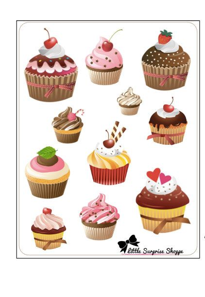Cupcake love stickers