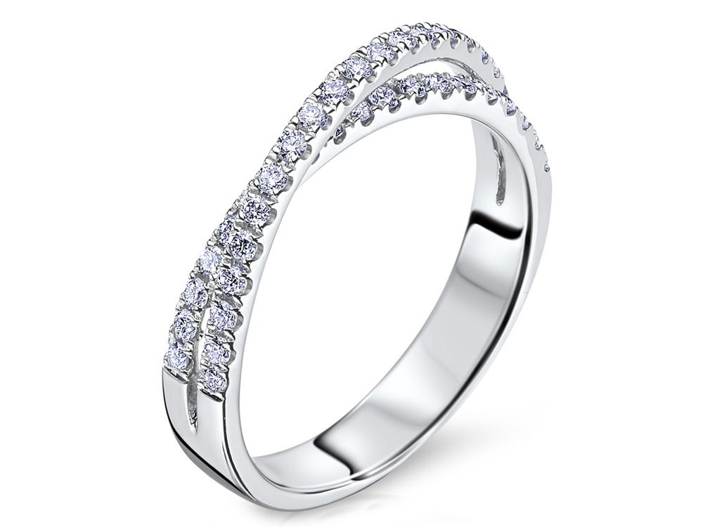Collection: RadianceStyle #: B1623R510Description: Ladies 14k White Gold Diamond Wedding Band with .45ctwDia Weight: .45ctAvailable Metal: 14kt, 18kt, Platinum, PalladiumRing Size: Pricing based on stock size 4-9