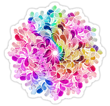 Rainbow Watercolor Paisley Flower Sticker By Micklyn Paisley Flower Watercolor Picture Collage