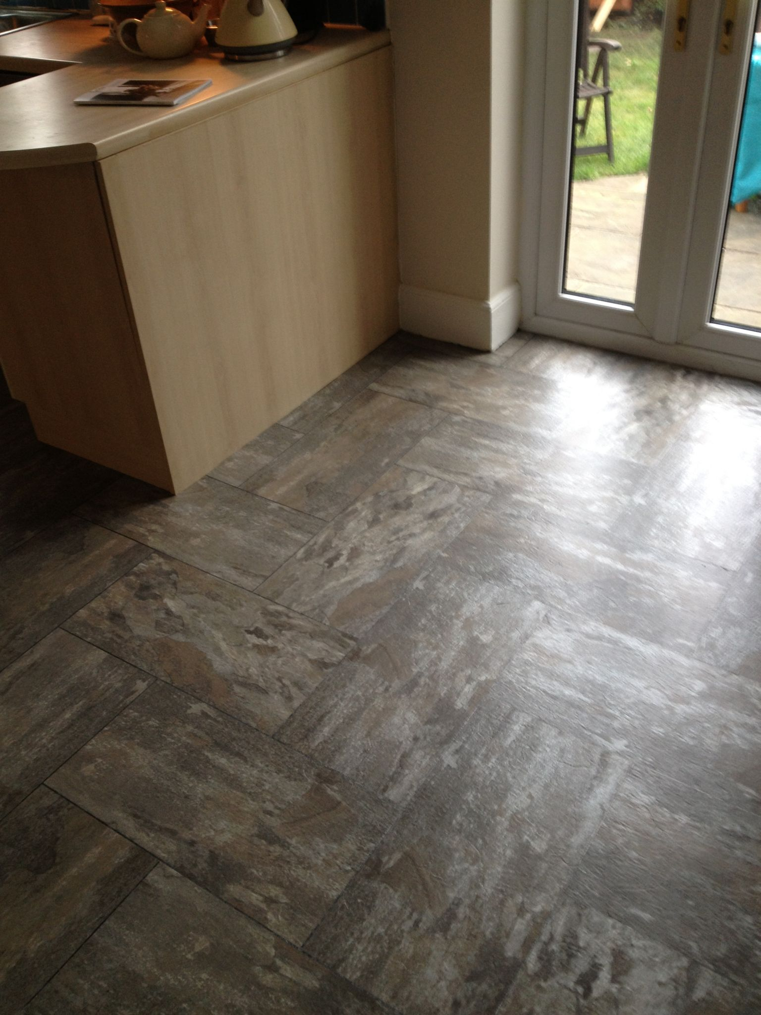 Polyflor Camaro Ocean Slate Fitted In A Herringbone Pattern Luxury